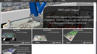The simulator includes challenges from previous First Lego League competitions.