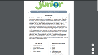 Teachers can access lesson summaries, including featured jobs and additional terms.