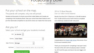 Classes, and even entire schools, can get involved in one of the site's Vocabulary Bowls.