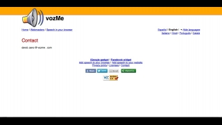 The site's sparse content includes a contact information page that just lists a single e-mail address.