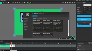 More advanced animators can use the Code Editor to write scripts.