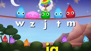 As levels advance, kids drag letters to build specific words.