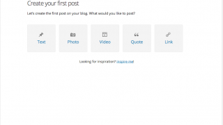 The walk-through tutorial guides users through creating their first few posts.