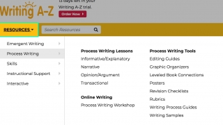 Teacher resources span a wide range of writing-related themes.