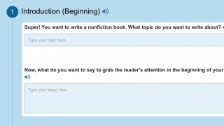 Online writing assignments guide students through the writing process.