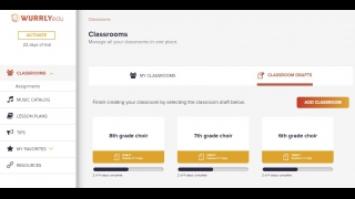 The dashboard allows you to manage several classrooms and to create new ones (and save them in draft form).