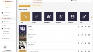 Browse or search the music catalog for practice pieces across a wide variety of genres.