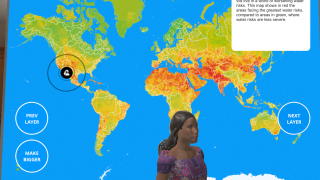 Change to the map mode and study map layers of the Earth.
