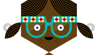 Bea wears glasses to help her see. Other kids in the story have unique looks and likes.