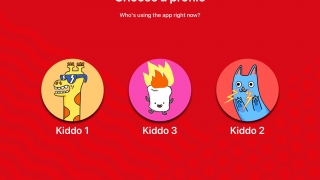 Kids choose their profile to enter their curated collection.