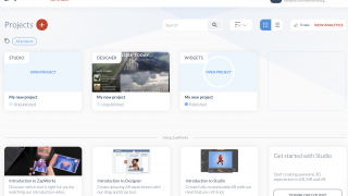 The ZapWorks dashboard includes created projects and tutorials.