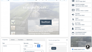 Zapworks Designer lets students drag and drop content onto an image, and includes buttons, multiple scenes, and more.