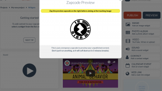 Students scan the trigger image with the Zappar app.