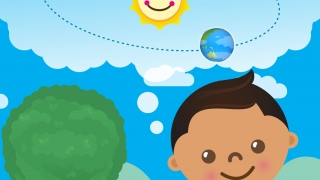 Take the earth for a spin around the moon and watch how the tree and the boy's clothes change with each new season.