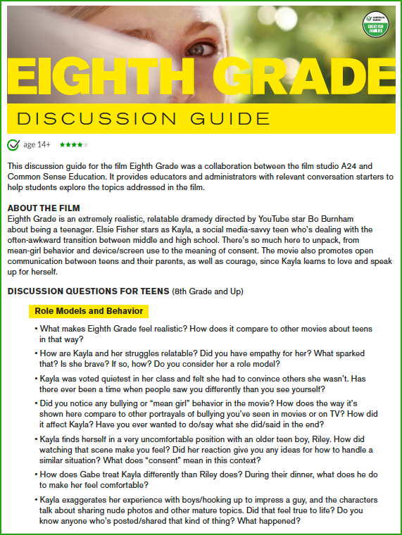 Eighth Grade discussion guide
