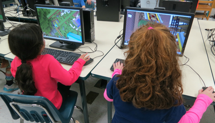 Students playing Minecraft