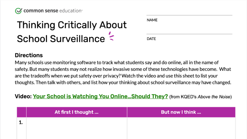 School Surveillance Worksheet