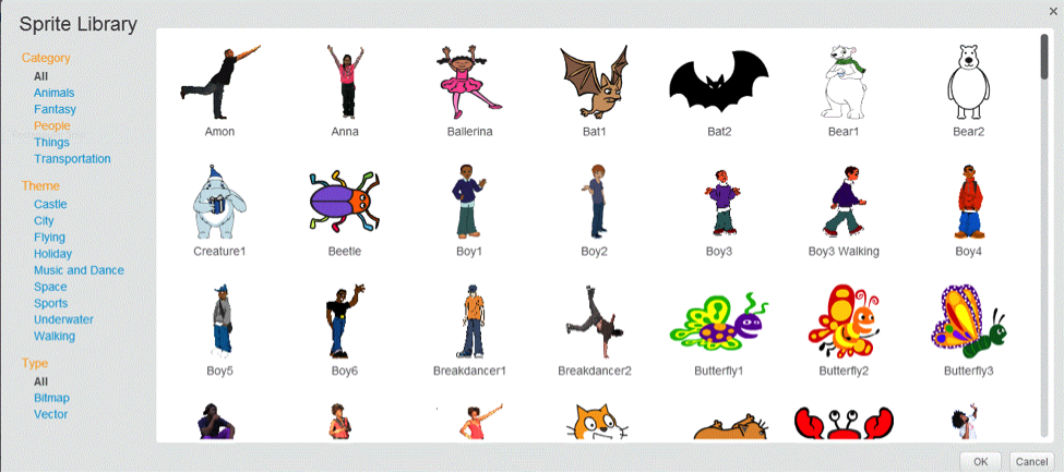 sprite library page on scratch website