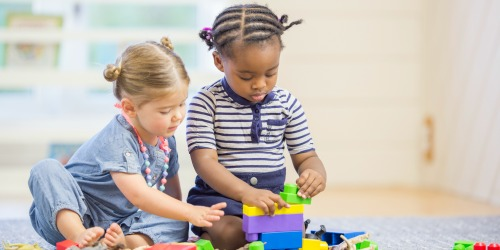 toddlers with blocks